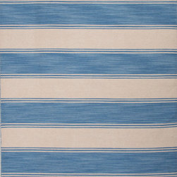 Jaipur Rugs - Flat-Weave Stripe Pattern Wool Blue/Ivory Area Rug ( 5X8 ) - Bold color is the name of the game with Pura Vida. This beautiful collection of durable, reversible flat-woven dhurries combines the classic simplicity of linear patterns with a decidedly modern palette for a look that's at once casual and sophisticated.