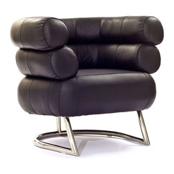 East End Imports - Michelin Chair in Genuine Leather Black - The Michelin Chair is a welcoming and jovial piece like no other. Like a companion that never parts, two outstretched semi-circular padded tubes establish the free expression of affinity. Reach beyond and engage inner contentment as you sit ensconced in this signature assemblage.