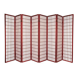 Oriental Furniture - 6 ft. Tall Window Pane Shoji Screen - Rosewood - 8 Panels - One of the most popular room dividers, the Window Pane Shoji Screen features a classic design versatile enough to complement any style of decor. Hand constructed from Scandinavian Spruce and fiber-reinforced Shoji rice paper, these screens are durable, lightweight, and easy to fold up and move. This room divider will meet your decorating needs. Every room has a space for one of these screens.