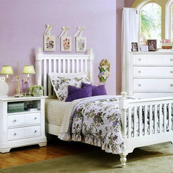 Vaughan Bassett - Youth Slat Poster Bed w Nightstand & Chest in - Choose Bed Size: TwinIncludes slat poster bed, nightstand and chest. Snow White finish. Assembly required. Nightstand:. 2 Drawers. 1 Open shelf. 28 in. W x 16 in. D x 29 in. H. Chest:. 5 Drawers. 38 in. W x 18 in. D x 54 in. H. Slat poster bed:. Twin Size:. Includes slat poster headboard, slat poster footboard and wood rails with 3 1-inch slats. Slat poster headboard: 42.5 in. L x 3 in. W x 58 in. H. Slat poster footboard: 42.5 in. L x 3 in. W x 35 in. H. Full Size:. Includes slat poster headboard, slat poster footboard and wood rails with 3 1-inch slats. Slat poster headboard: 57.5 in. L x 3 in. W x 58 in. H. Slat poster footboard: 57.5 in. L x 3 in. W x 35 in. H. Wood rails: 76 L x 6 in. W x 1 in. H