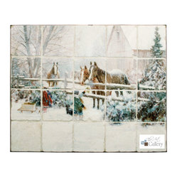 Tile Art Gallery - Splash Decor Tile Mural - Doug Laird - Four Horses - Original art is at your fingertips with the tiled murals from Splash Decor. You can easily change from one to the other whenever the mood strikes, like this wintery scene by Doug Laird. Hang the murals in a tiled opening as a backsplash in your kitchen.