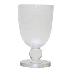 """Tag - Tag Bubble Glass Goblets - Set of 6 - 555177 - Shop for Drinkware from Hayneedle.com! Pour the glam onto your next in-home gala with the Tag Bubble Glass Goblets - Set of 6. Quirky and cosmopolitan this set of six goblets will dress up your hosting with a little bit of elegance and a whole lot of fun. With a playful bubbled design and durable glass construction these contemporary goblets should be hand-washed only. Available in your choice of color to make sure your next celebration is just the way you like it. Who knew goblets could be so glamorous and so fun?About TagFounded by NYU graduate and current owner Norman Glassberg in 1975 Tag is a leader in textiles gifts and furnishings and manufactures their products in nine different countries. With a huge variety of products available to enhance the beauty and comfort of your home Tag focuses their attention on the idea of a """"central look"""" with all of their pieces - you can tell a Tag furnishing by its distinctive clean-lined style that's unlike anything else. Today Tag's main goal (aside from maintaining their unique aesthetic) is to bring you high quality affordable products you'll be proud to use and display."""
