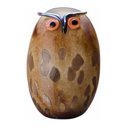"""Iittala - Toikka Uhuu 6.5"""" x 9.75"""" - Hoo could resist this whimsical owl? Marvelous in marbled brown glass with flecks of gold, this fanciful fellow has bright orange eyes with a metallic blue beak and eyebrows. Display your owl as part of a collection on the mantel or let him keep watch on a bookshelf or console table."""