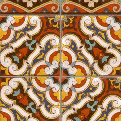 Mediterranean - Turkish Medallion pattern when used enmasse creates a rich tapestry of color on any wall or floor.