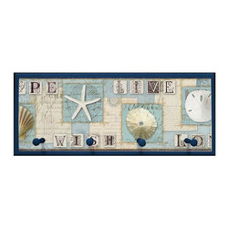 illumalite Designs - Beach Journal Plaque with Pegs - Includes hardware for hanging. Hand painted navy blue colored border. Four wooden pegs. Ready to be hung. Made from wood. Made in USA. 25.5 in. W x 4 in. D x 10 in. H (4 lbs.)This charming nautical themed plaque is the perfect addition to any room. This plaque is the ideal size to add a nautical touch to any wall.