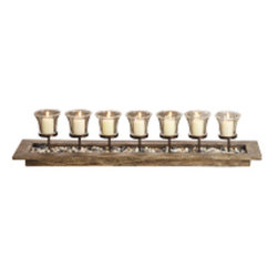 "Silver Nest - Serene Votive Bench- 31.75""w - Serene Votive Bench Centerpiece in beachwood holds 7 votive candles."