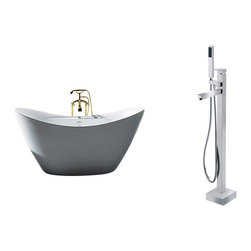 """AKDY - AKDY 67"""" AZ-F210+8733 Europe Style White Acrylic Free Standing Bathtub w/ Faucet - AKDY free standing acrylic bathtubs come in many styles, shapes, and designs. The acrylic material used for tubs is very durable, light weight, and can be molded into a variety of shapes and styles which explain the large selection available in this product category. Acrylic free standing tubs are a cost efficient way to give your bathroom a unique beautiful touch. A bathtub is no longer just a piece of cast iron metal thrown into a bathroom by a builder."""