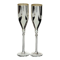 "Godinger Silver - Set Of Two Stemmed Flute Champagnes - There's something exceptional about a drink served in a footed goblet. And when you serve beverages in these silver-plated champagne flutes it will be all the more exceptional. So for your next occasion or event, let these goblets add some splendor to your home and bar! Measures approx: 2"" diameter, 9.5"" high. Base 2.25""."