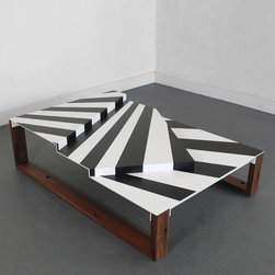 War Craft Coffee Table Wearing Dazzle - I love the graphic look and the multiple levels on this coffee table. Who can refuse a teak base? It's my favorite kind of wood.