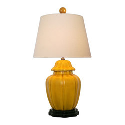 """Lamps Plus - Asian Mustard Yellow with Beige Empire Shade Porcelain Table Lamp - This graceful table lamp looks great in a living room or bedroom and is perfect for a variety of decors. It features a sculpted porcelain vase in a warm mustard yellow finish. A sleek beige Euro empire shade sits on top to finish the look. Porcelain base. Mustard yellow finish. Beige Euro empire hardback shade. Takes one 100 watt maximum bulb (not included). 3-way 23"""" high. 14"""" wide. Shade is 10"""" across the top 14"""" across the bottom and 10"""" on the slant.  Porcelain base.   Mustard yellow finish.   Beige Euro empire hardback shade.   Takes one 100 watt maximum bulb (not included).   23"""" high.   14"""" wide.   Shade is 10"""" across the top 14"""" across the bottom and 10"""" on the slant."""