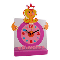 Tatiri Hot Pink Princess Desk / Alarm Clock - Made of plastic, this wonderful hot pink Princess battery powered desk alarm clock is the perfect addition to your little Princess` bedroom. The clock measures 6 inches tall, 4 1/2 inches wide, with pink and blue numbers and black hands that glow in the dark. It has a quartz movement with an alarm function. It runs on one AA battery (not included).This wall clock is BRAND NEW, never hung, and makes a great gift for the holidays.