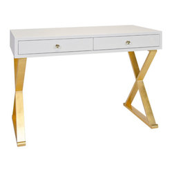 Worlds Away - Worlds Away Jared Lacquer Desk with X Base, White and Gold - Worlds Away Jared White Lacquer Desk with Gold Leaf