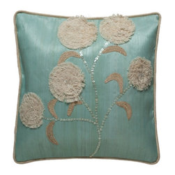 Kouboo - Decorated Pillow Cover with Hammer Seashell, Turquoise - This unique, hand woven throw pillow is decorated with attractive Hammer seashell. Additionally adorned with raffia and cord, this decorative accent is perfect for embellishing sofas or chairs, or incorporated into any bedroom decor. Woven of Abaca fabric derived from the leaves of the tree-like Abaca herb, this beautiful throw pillow adds a tropical ambiance to any room of the home. 1 year limited warrantyHammer seashell & Raffia cord on hand-woven Abaca fabricHidden zipper closureInsert not includedWeighs 0.6 lb
