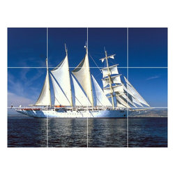 Picture-Tiles, LLC - Boat Ship Picture Wall Back Splash Tile Mural  24 x 32 - * Boat Ship Picture Wall Back Splash Tile Mural 1249