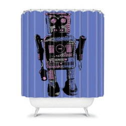 DENY Designs Romi Vega Lantern Robot Shower Curtain - With the DENY Designs Romi Vega Lantern Robot Shower Curtain you've either found a new friend or a robotic overlord. This shower curtain is made of durable woven polyester and features a designer print sure to bring a smile to your face. With this hanging around, your showering experience will never be the same again.About DENY DesignsDenver, Colorado based DENY Designs is a modern home furnishings company that believes in doing things differently. DENY encourages customers to make a personal statement with personal images or by selecting from the extensive gallery. The coolest part is that each purchase gives the super talented artists part of the proceeds. That allows DENY to support art communities all over the world while also spreading the creative love! Each DENY piece is custom created as it's ordered, instead of being held in a warehouse. A dye printing process is used to ensure colorfastness and durability that make these true heirloom pieces. From custom furniture pieces to textiles, everything made is unique and distinctively DENY.