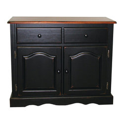 Sunset Trading - Sunset Trading 2 Door, 1 Drawer Buffet in Antique Style Black - Invite a touch of country warmth and beauty into your home with this traditional American classic piece from the Sunset Trading - Sunset Selections Collection. Versatile enough to complement your dining area den office or even bedroom as a sturdy TV stand this piece offers ample storage without compromising space or style. Features include distressed antique black finish with cherry rub through on base with contrasting finished cherry top with antique black distressing two raised panel cathedral arch doors that open to large shelf two drawers with Euro glides for easy sliding and scalloped apron trim at bottom of base. For enhanced elegance pair this piece with the matching glass door hutch (sold separately) and match with any Sunset Selections table chair stool and kitchen island. A timeless piece that you will cherish for storing and displaying your family's prized possessions for generations to come!