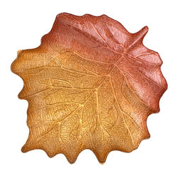"Traders and Company - Hand-Painted Large Gold & Umber Maple Leaf-Shaped Plate, 16.5""Lx14""W - Embrace Autumn and welcome it into your home decor or next dinner party with our gold and umber maple leaf dishes. Perfect for serving food or around-the-home decoration. Alternate shapes & styles sold separately. Hand wash only; not for use in dishwasher, microwave, or oven."