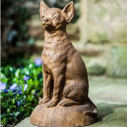 Campania International Chiquito Garden Statue - An adorable way to welcome guests to your garden, the Campania International Antique Chiquito Garden Statue may be little, but he has big character. Everyone will fall in love with the realistic details that bring this little pup's personality to life. This chiquito is durable enough to withstand life outdoors because it's handmade of cast stone concrete and undergoes a thoughtful, 15-step process to give him just the right look. This sweet little dog statue is available in a variety of finish options and comes unsealed so he will develop an antique patina over time.About Campania InternationalEstablished in 1984, Campania International's reputation has been built on quality original products and service. Originally selling terra cotta planters, Campania soon began to research and develop the design and manufacture of cast stone garden planters and ornaments. Campania is also an importer and wholesaler of garden products, including polyethylene, terra cotta, glazed pottery, cast iron, and fiberglass planters as well as classic garden structures, fountains, and cast resin statuary.Campania Cast Stone: The ProcessThe creation of Campania's cast stone pieces begins and ends by hand. From the creation of an original design, making of a mold, pouring the cast stone, application of the patina to the final packing of an order, the process is both technical and artistic. As many as 30 pairs of hands are involved in the creation of each Campania piece in a labor intensive 15 step process.The process begins either with the creation of an original copyrighted design by Campania's artisans or an antique original. Antique originals will often require some restoration work, which is also done in-house by expert craftsmen. Campania's mold making department will then begin a multi-step process to create a production mold which will properly replicate the detail and texture of the original piece. Depending on its size and complexity, a mold can take as long as three months to complete. Campania creates in excess of 700 molds per year.After a mold is completed, it is moved to the production area where a team individually hand pours the liquid cast stone mixture into the mold and employs special techniques to remove air bubbles. Campania carefully monitors the PSI of every piece. PSI (pounds per square inch) measures the strength of every piece to ensure durability. The PSI of Campania pieces is currently engineered at approximately 7500 for optimum strength. Each piece is air-dried and then de-molded by hand. After an internal quality check, pieces are sent to a finishing department where seams are ground and any air holes caused by the pouring process are filled and smoothed. Pieces are then placed on a pallet for stocking in the warehouse.All Campania pieces are produced and stocked in natural cast stone. When a customer's order is placed, pieces are pulled and unless a piece is requested in natural cast stone, it is finished in a unique patinas. All patinas are applied by hand in a multi-step process; some patinas require three separate color applications. A finisher's skill in applying the patina and wiping away any excess to highlight detail requires not only technical skill, but also true artistic sensibility. Every Campania piece becomes a unique and original work of garden art as a result.After the patina is dry, the piece is then quality inspected. All pieces of a customer's order are batched and checked for completeness. A two-person packing team will then pack the order by hand into gaylord boxes on pallets. The packing material used is excelsior, a natural wood product that has no chemical additives and may be recycled as display material, repacking customer orders, mulch,or even bedding for animals. This exhaustive process ensures that Campania will remain a popular and beloved choice when it comes to garden decor.Please note this product does not ship to Pennsylvania.