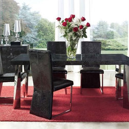 Exclusive Wood and Glass Top Leather Designer Table and Chairs Set - Coco modern dining set with leather accent. This Dining Set offers a contemporary approach in design with a slight classic flavor.