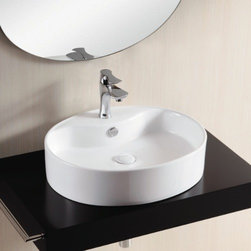 Caracalla - Oval White Ceramic Vessel Bathroom Sink - Oval sink with flat basin. Vessel sink has a thin rim with a thicker back wall for a faucet hole. Bathroom sink comes with only one hole for a faucet and comes standard with overflow. Made in Italy by Caracalla. Stylish oval sink. one hole. vessel bathroom sink. Designed by Caracalla. Made of porcelain. Standard drain size of 1.25 inches.