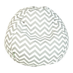 "Majestic Home - Outdoor Chevron Small Bean Bag, Gray, 28"" L X 28"" W X 22"" H - Beanbags are the ultimate kid-friendly chairs: You can toss them anywhere, let them get kicked around and squished up, and you don't have to worry if this one gets left outside overnight. This small, snazzy chevron beanbag is just the right size for your kid to plop in front of a movie or out by the pool, and its fun chevron slipcover is safe for outdoors and removable for easy cleaning."
