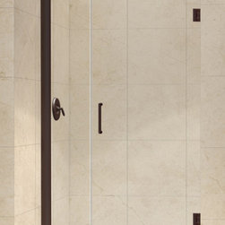 DreamLine - DreamLine SHDR-20427210-06 Unidoor 42 to 43in Frameless Hinged Shower Door, Clea - The Unidoor from DreamLine, the only door you need to complete any shower project. The Unidoor swing shower door combines premium 3/8 in. thick tempered glass with a sleek frameless design for the look of a custom glass door at an amazing value. The frameless shower door is easy to install and extremely versatile, available in an incredible range of sizes to accommodate shower openings from 23 in. to 61 in.; Models that fit shower openings wider than 31 in. have an adjustable wall profile which allows for width or out-of-plumb adjustments up to 1 in.; Choose from the many shower door options the Unidoor collection has to offer for your bathroom renovation. 42 - 43 in. W x 72 in. H ,  3/8 (10 mm) thick clear tempered glass,  Chrome, Brushed Nickel or Oil Rubbed Bronze hardware finish,  Frameless glass design,  Width installation adjustability: 42 - 43,  Out-of-plumb installation adjustability: Up to 1 in. one side (total 1 in.),  Self-closing solid brass wall mount hinges,  Door opening: 29 in.,  Stationary panel: 12 in.,  Reversible for right or left door opening installation,  Material: Tempered Glass, Brass