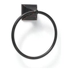 Amerock - Markham Towel Ring in Oil-Rubbed Bronze Finish - Includes mounting template and mounting hardware. 1 x M5 x 0.8 9 mm Phillips head, 2 x nylon cap for towel ring, 1 x M4 x 0.7 10 mm set screw and 1 wall mounting plate. Heavy-gauge stainless steel construction. 1-Year warranty. 6.81 in. L x 8 in. W x 3 in. H (1.1 lbs.)Traditional design aesthetics punctuate the Markham™ collection which provides crisp, linear definition to the bath or powder room. Square footing at the base is inspired by the architectural details of columns, pilasters and stately slim bars. Complements a variety of Amerock® cabinet hardware, suggested coordination to the Amerock® Manor collections.