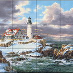 The Tile Mural Store (USA) - Tile Mural - Portland Head Lighthouse - Kitchen Backsplash Ideas - This beautiful artwork by Rudi Reichardt has been digitally reproduced for tiles and depicts the Porland Head Lighthouse in Winter  Our lighthouse tile murals and nautical themed decorative tiles are perfect as part of your kitchen backsplash tile project or your tub and shower surround bathroom tile project. Lighthouse images on tiles add a unique element to your tiling project and are a great kitchen backsplash idea. Use a lighthouse scene tile mural for a wall tile project in any room in your home where you want to add interest to a plain field of wall tile.