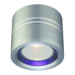 CSL - Entity Blue Ring Flush Mount Ceiling - Entity Flush Mount Ceiling is made of diecast aluminum in Satin Aluminum finish with a Blue conical glass accent ring. Also available with Opal conical glass in Satin Aluminum, Bronze or White finish. One 35 watt 120 volt MR16 GU10 halogen bulb not included. 4.5 inch width x 4 inch height. UL listed for damp locations.