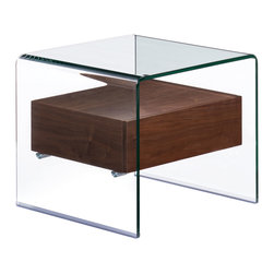 Zuo - Shaman Side Table - The Shaman is everything you could want in a functional and beautiful side table. The clear bent glass top and sides lend modern sophistication, while gracefully suspending a natural walnut shelf. Concealed within the shelf is a storage drawer for corralling necessities such as remote controls and reading glasses. The Shaman Side Table's ample scale is perfect for accenting a seating arrangement in the living room or media room. Or use two for unique night stands in the bedroom. The tempered glass is a foolproof surface for busy households or for those who like to entertain. Choose the Shaman Side Table for it's incredible design and smart sensibility. The Shaman collection also features a coffee table and console table.