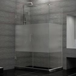 DreamLine - DreamLine SHEN-24370340-HFR-04 Unidoor Plus Shower Enclosure - DreamLine Unidoor Plus 37 in. W x 34-3/8 in. D x 72 in. H Hinged Shower Enclosure, Half Frosted Glass Door, Brushed Nickel Finish Hardware