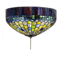Meyda Tiffany - Meyda Tiffany Candice Flush Mount Tiffany Fan Light Kit X-44472 - Inspired by the design of Louis Comfort Tiffany, the Meyda Tiffany Candice flush mount ceiling light provides magnificent craftsmanship featuring multicolored art glass shade. It is a combination of amber, green, blue and purple glasses that create a scenic pattern for a fascinating appeal. To complete the look an antique finished frame is added to the stunning ceiling light.