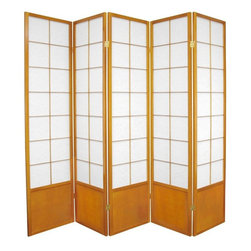 Oriental Furniture - 6 ft. Tall Zen Shoji Screen - Honey - 5 Panels - This beautiful folding screen has an elegant, airy quality due its lightweight spruce frame and translucent Washi paper panels. Based on traditional Mado-style Shoji screens, the square lattice frame looks both modern and traditional, fitting in with any style of decor. Use it where privacy is preferred, or as a cosmopolitan way to partition a room.