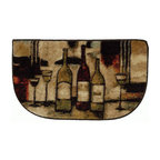 Mohawk Home - Mohawk New Wave Wine And Glasses Beige Country Kitchen 3 Piece Set  Rug (10291) - This charming accent rug featuring wine bottles and glasses will brighten your kitchen decor.  In hues of red and black accented with gold this design is trendy and fun.  Printed on the same machines that manufacture one of the world
