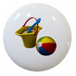 Carolina Hardware and Decor, LLC - Beach Ball Sand Bucket Ceramic Knob - New 1 1/2 inch ceramic cabinet, drawer, or furniture knob with mounting hardware included. Also works great in a bathroom or on bi-fold closet doors (may require longer screws). Item can be wiped clean with a soft damp cloth. Great addition and nice finishing touch to any room!