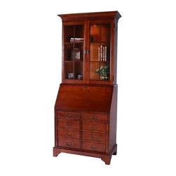 """Jasper Cabinets - Arlington Computer Secretary Desk with Hutch - Finish: Red with crackleAttractive, functional, versatile - this computer secretary desk & hutch can do it all! Impressive profile has 2 panel glass doors for stylish display options. Lower cabinet easily holds your printer, CDs, computer and more. Wood unit is finished with your choice of popular colors. Signature drop lid slide mechanism and lid lock. Beveled Glass. Two adjustable glass shelves in deck. Pigeonholes for CDs with small drawer on each side. Wire management. CPU storage compartment with cut-out ventilation. Floor levelers. Interior cavity for standard 17"""" flat screen monitors. Touch lighting in deck. Optional leather insert on drop lid. Finished back panels. Made from Cherry and Maple solids. Assembly required. 36 in. W x 20 in. L x 85.5 in. H (250 lbs.)I'm sure you've all seen the magnificent secretary that graces the homes of friends and families. Some have been handed down through generations, some are new, but still are rich with history. With it's many features this beautiful Secretary is a must for your home. Finished in a Vintage Cherry is what makes this a magnificent piece you can't walk away from."""