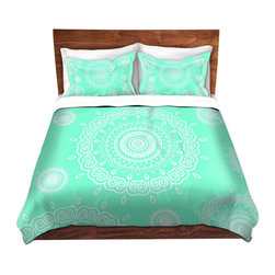 DiaNoche Designs - Duvet Cover Twill - Infinity Mint - Lightweight and super soft brushed twill Duvet Cover sizes Twin, Queen, King.  This duvet is designed to wash upon arrival for maximum softness.   Each duvet starts by looming the fabric and cutting to the size ordered.  The Image is printed and your Duvet Cover is meticulously sewn together with ties in each corner and a concealed zip closure.  All in the USA!!  Poly top with a Cotton Poly underside.  Dye Sublimation printing permanently adheres the ink to the material for long life and durability. Printed top, cream colored bottom, Machine Washable, Product may vary slightly from image.