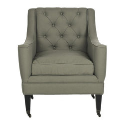 Safavieh - Sherman Arm Chair - Sea Mist - Ideal for rooms that call for an updated classic vibe, the Sherman arm chair artfully blends traditional bespoke details with transitional lines. Sloped arms, a loose cushion seat and button tufted back are fully upholstered in pure linen in sea mist for a natural touch. Birch wood legs finished in black have casters for easy mobility.