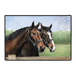 035-Caroline's Horses Doormat - 100% Polyester face, permanently dye printed & fade resistant, nonskid rubber backing, durable polypropylene web trim. Use on the porch or near your back entrance to the house. Indoor and outdoor compatible rugs that stand up to heavy use and weather effects