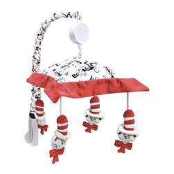 Trend Lab - Dr. Seuss Cat in the Hat Mobile - Why not go all the way? and complete your babys nursery with this wonderful accessory? The Mobile - Dr. Seuss Cat by Trend Lab encourages eye tracking and sound perception skills. The piece is suspended from decorative white ribbon and slowly rotate to Brahms Lullaby. Measures 18in tall by 20in wide. Care instructions - Canopy/Slide Cover Machine wash cold; Gentle cycle; Do not bleach; Tumble dry low or line dry; Do not dry clean.