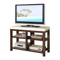 "Acme - Kyle Collection White Finish Faux Marble Top Dark Finish Wood TV Stand - Kyle collection white finish faux marble top dark finish wood TV stand entertainment center unit with storage shelves. Features a faux marble top and open storage shelves on the bottom. Measures 48"" x 18"" x 32""H. Some assembly required."