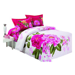 Le Vele - 4 Pc Vera Full or Queen Duvet Cover Bedding Set - Includes 1 flat bed sheet, 1 duvet cover and 2 pillow cases. Decorate your bedroom like never before with this modern and artistic design from Le Vele featuring large vivid floral prints. Fits full or queen size mattress. Can be tucked under the mattress or can hang with no need for bed skirt. Concealed plastic snaps at the foot of the duvet cover make it easy to insert a comforter, quilt or blanket. Superior workmanship of combed yarns and sateen weaving. Soft and lustrous look and eliminate typical wrinkling. Sheets feel soft and inviting and are guaranteed for many years of reusable life. Printed with the latest reactive dyeing technology for excellent brightness and long lasting colors. Reversible design. Made of 100% soft Turkish cotton at 305 thread count. Machine washable: normal w cool water - no bleach - tumble dry. Flat bed sheet: 94 in. L x 102 in. H. Duvet cover: 80 in. L x 87 in. H. Pillow case: 20 in. L x 30 in. H