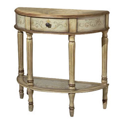 Butler Furniture - Demilune Console Table - Unique hand painted design on selected hardwoods and wood products. Felt lined drawer with antique brass finished drawer pull.