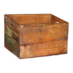 Wine Bottle Box, Medium Brown - A charming accent in the kitchen or dining area, this open top wine bottle box has a distressed, old world character that brings warmth and style. The wood paneled box features cut out handles and a six bottle interior divider. A stylish way to display a few favorite vintages, this classic wine bottle box is an attractive and alluring accessory.