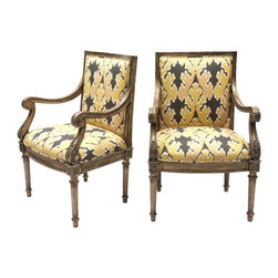 "Pre-owned Kelly Wreastler Ikat French Chairs - A Pair - This fine pair of vintage French chairs have been newly upholstered in Kelly Wearstler for Kravet ""Bengal Tiger"" ikat. The frame has a layered painted finish that reveals brown and gold hues. Perfect for some extra seating in your living room, these two will quickly become your favorite seats!"