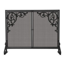 Uniflame - Uniflame S-1471 Single Panel Olde World Iron Screen w/ Doors & Cast Scrolls - Single Panel Olde World Iron Screen w/ Doors & Cast Scrolls belongs to Fireplace Accessories Collection by Uniflame
