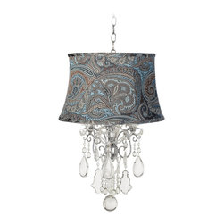 "Vienna Full Spectrum - Contemporary Belle of the Ball Designer Blue Paisley Shade Mini Chandelier - Crystal mini chandeliers are in style! Use one in a small space such as a hallway or bath area to add sparkle and sophistication. This design features a chrome finish frame a chic designer shade and hanging crystal droplets and strands. A bottom ball accent provides additional glitter. Includes chandelier shade and connector. From Vienna Full Spectrum.  Designer shade mini chandelier.  Chrome finish with crystal accents.  Versailles blue mountain paisley fabric drum shade.  Includes special shade-chandelier connector.  Crystal chandelier design by Vienna Full Spectrum.  Takes three 40 watt candelabra bulbs (not included).  Includes 6 feet chain.  Some assembly required; instructions included.  24 1/2"" high.  Shade is 14"" across the top 17"" across the bottom 10 1/2"" high.   Canopy is 5"" wide.  Hang weight 10 1/2 lbs."