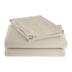 300 Thread Count Twin Sheet Set Bamboo Solid - Ivory - As soft as silk and as durable as cotton, these bamboo derived sheets are at the meeting point of style, comfort and durability. Made from 100% Bamboo derived Rayon, this set of sheets allows your body to breathe in the summer while keeping you warm in the winter. Set includes One Flat Sheet 68x99, One Fitted Sheet 40x77, and One Pillowcase 21x32.