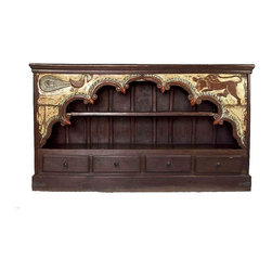 Pre-owned Indian Arched Bookcase - An unusual bookcase reconstructed from an Antique Indian architectural arch with 4 bottom drawers & shelves. The arch has its original painted finish with a couple of carved figures.