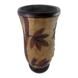 Zeckos - Hand Carved Wooden Umbrella Vase 2 Toned Botanical Design - This wooden vase adds a lovely decorative flair to your home or office while providing a place to store umbrellas and canes. It is hand carved and features a two toned botanical design, resembling canes of bamboo. This piece measures 17 1/2 inches tall, 8 1/2 inches in diameter.